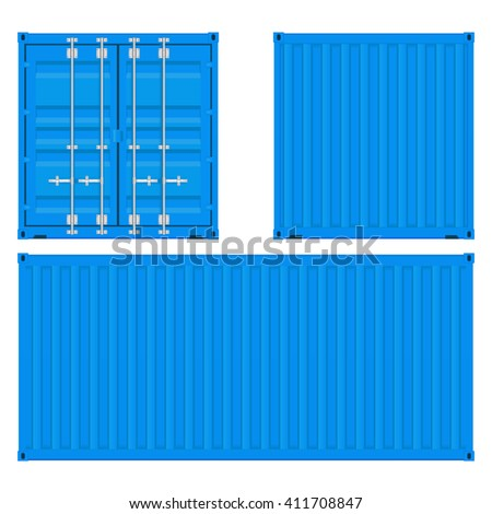 Cargo container. Blue shipping container. Illustration isolated on white background. Raster version