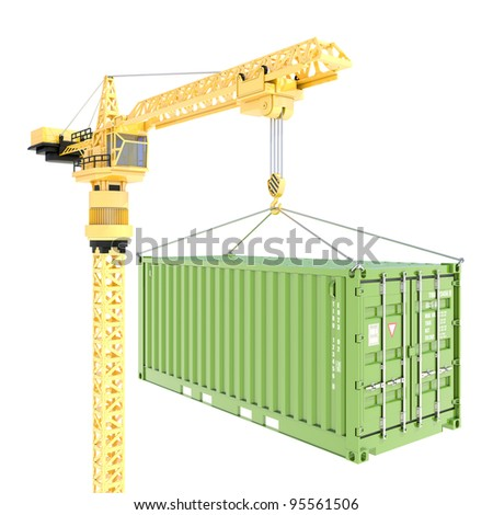 Cargo container delivery with crane isolated on white