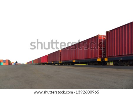 Cargo container for shipping and transportation work isolated on white background with clipping paths. #1392600965