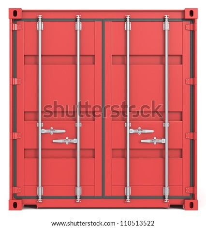 Cargo Container Front. Red Cargo Container. Closed Doors. Front view.