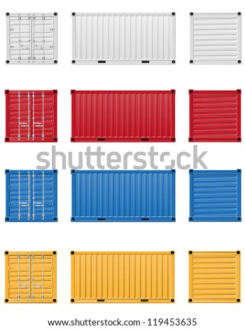 cargo container illustration isolated on white background