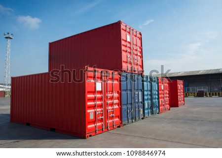 cargo container in the cargo yard port wait for tanker truck  . #1098846974
