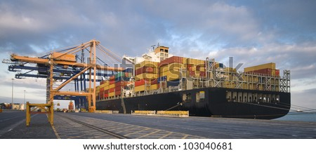 Cargo container ship in African port