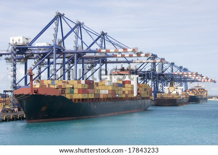 Cargo container ship in port