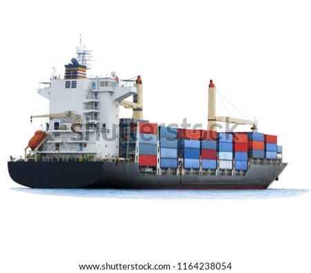 Cargo container ship on white background isolate for freight shipping by sea concept transportation and logistic.