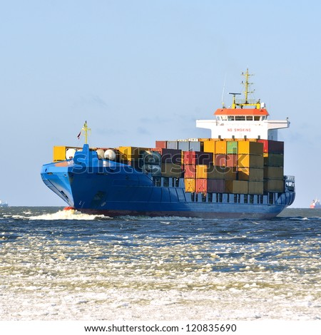 Cargo container ship sailing