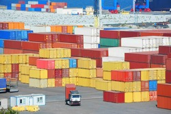 Cargo container stack in port of Odessa, Ukraine