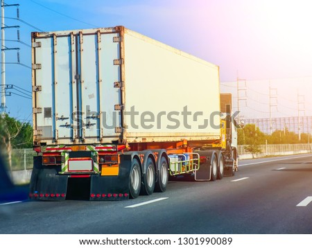 Cargo container truck on the road #1301990089