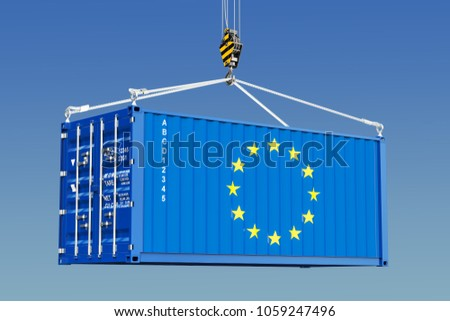 Cargo container with EU flag hanging on the crane hook against blue sky, 3d rendering