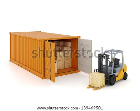 Cargo container with forklift isolated on white