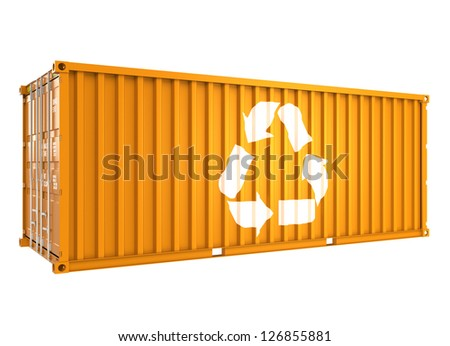 cargo container with recycle mark - stock photo