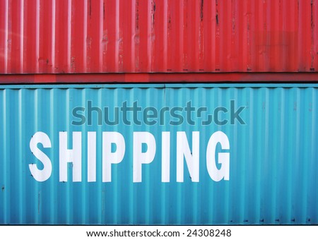 Cargo container with shipping label - stock photo