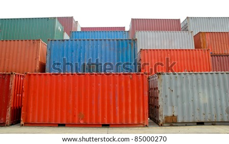 Cargo Containers at a dock isolated on white background
