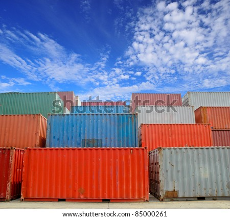 Cargo Containers at a dock with blue sky
