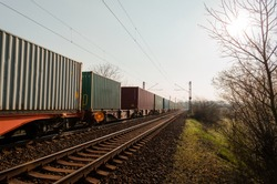 cargo containers at countryside landscape