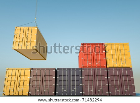 Cargo containers. 3D render. - stock photo