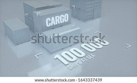 Cargo containers used for transportation of goods via a container ships, 3D, 3D artwork, 3D rendering, 3D illustration