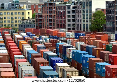 Cargo containers waiting for shipping in Vancouver port