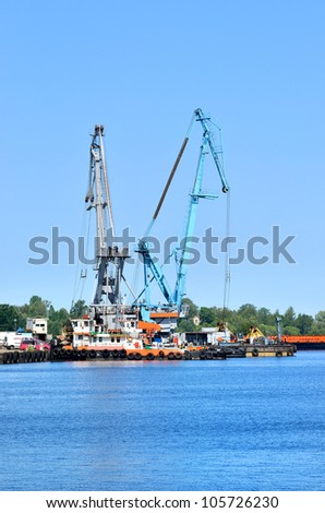cargo cranes at the port
