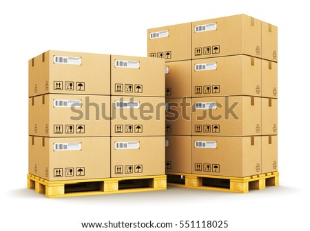 Cargo, delivery and transportation logistics storage warehouse industry business commercial concept: 3D render of the group of stacked cardboard boxes on industrial shipping pallets isolated on white