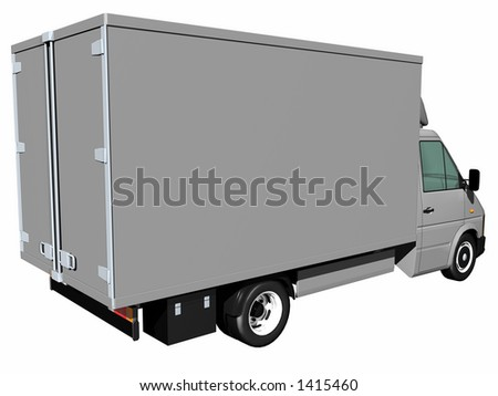 Cargo Delivery Truck with customizable side (back view)