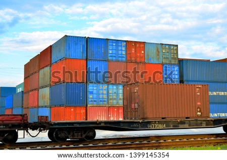 Cargo dock terminal with sea containers. logistic warehouse port of shipping container for the subsequent sorting, loading and sending them on freight railway cars or trucks to the client - Image