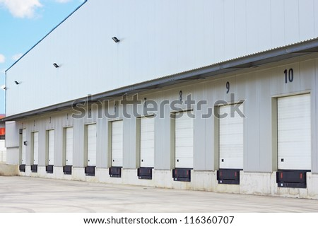 cargo doors at big warehouse