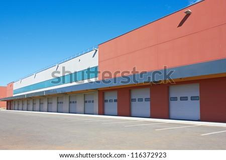 cargo doors at big warehouse - stock photo