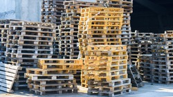 Cargo euro pallets. Pallets are used for the transportation of goods.
