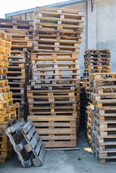 Cargo euro pallets. Pallets are used for the transportation of goods. Vertical picture