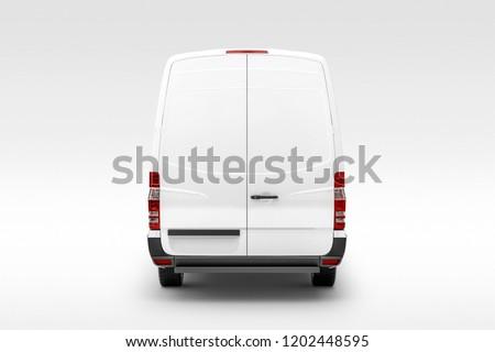Cargo Express Van Vehicle back view. 3D rendering