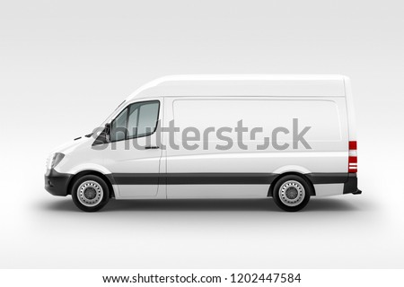 Cargo Express Van Vehicle left view. 3D rendering