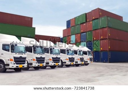 Cargo freight transportation with truck fleet in container depot service. #723841738