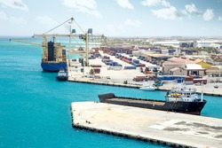 Cargo harbor on Aruba island