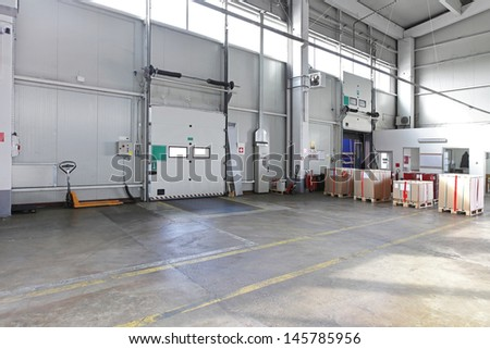 Cargo loading door in distribution warehouse