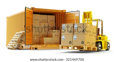 Cargo loading operation, shipment, delivery, logistics and freight transportation concept, open container full of boxes and forklift truck lift up packages on pallet isolated on white background