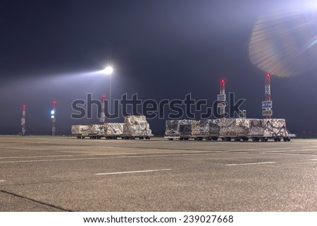 Cargo packed and ready to be delivered at night