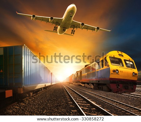 cargo plane and rail transport for logistic business