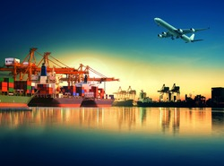 cargo plane flying above ship in port for logistic and transport industry