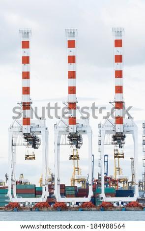 Cargo sea port and Sea cargo cranes of Thailand
