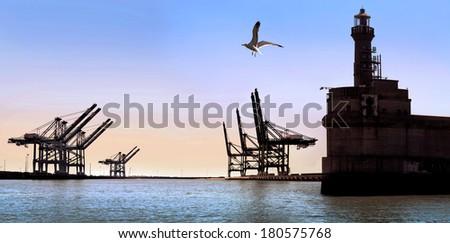 Cargo sea port. Old lighthouse. Sea cargo cranes.  Sunny day. Panorama.