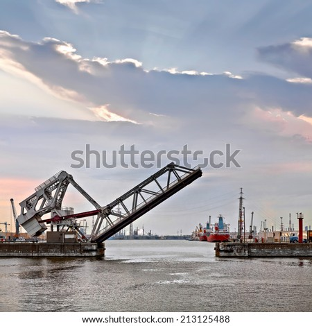 Cargo sea port. Sea cargo cranes. Bridge and marine gateway. Seascape.