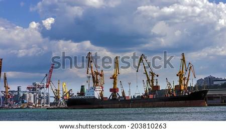 Cargo sea port. Sea cargo cranes.Odessa, Ukraine.