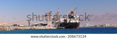 Cargo sea port. Sea cargo cranes. Red sea. Eilat, Israel