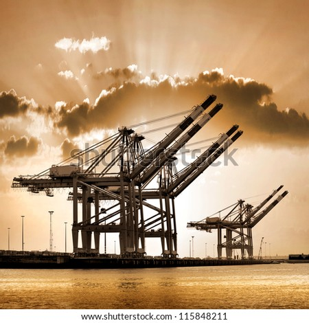 Cargo sea port. Sea cargo cranes. Sea.