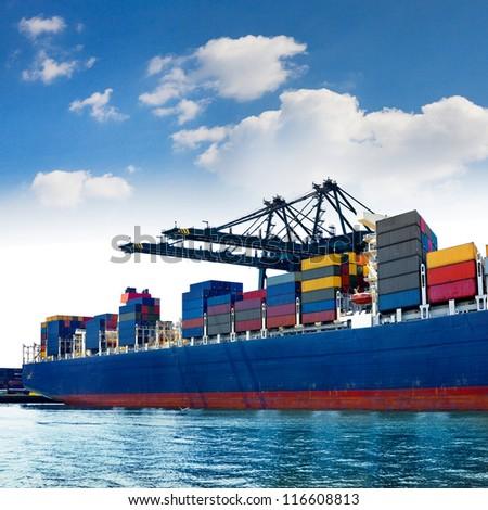Cargo sea port. Sea cargo cranes. Sea. - stock photo
