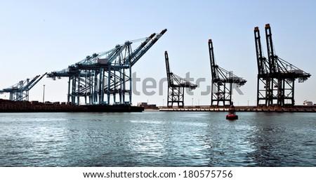Cargo sea port. Sea cargo cranes. Sea. Panorama.
