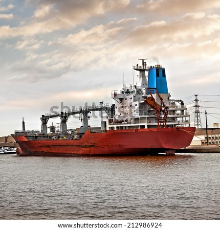 Cargo sea port. Sea cargo cranes. Seascape.