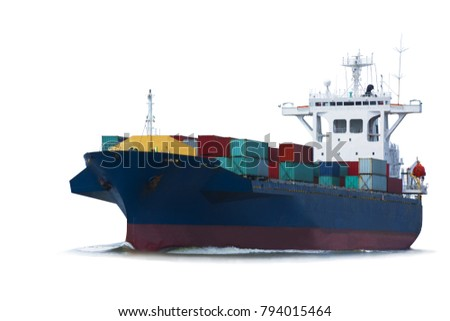 cargo ship, container vessel on white background isolate for freight shipping logistic and transportation concept. #794015464