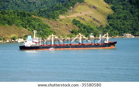 cargo ship departure from the port of the city of santos in brazil